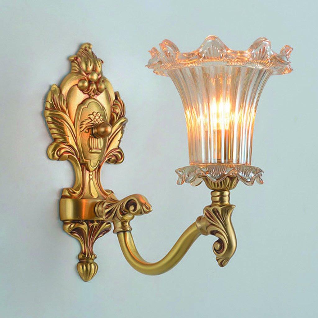 新しい古典的な通路のベッドサイドのランプの人格屋内の寝室の銅のレトロシングル銅のガラスのランプシェードの壁ランプ B07D7VX3ZS