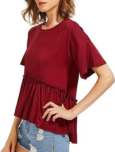 FELZ Camiseta de Manga Corta para Mujer Elegante Blusas de Gasa Color sólido Camisa Suelta Cuello Redondo Verano Casual Fiesta t-Shirt Original tee: Amazon.es: Ropa y accesorios
