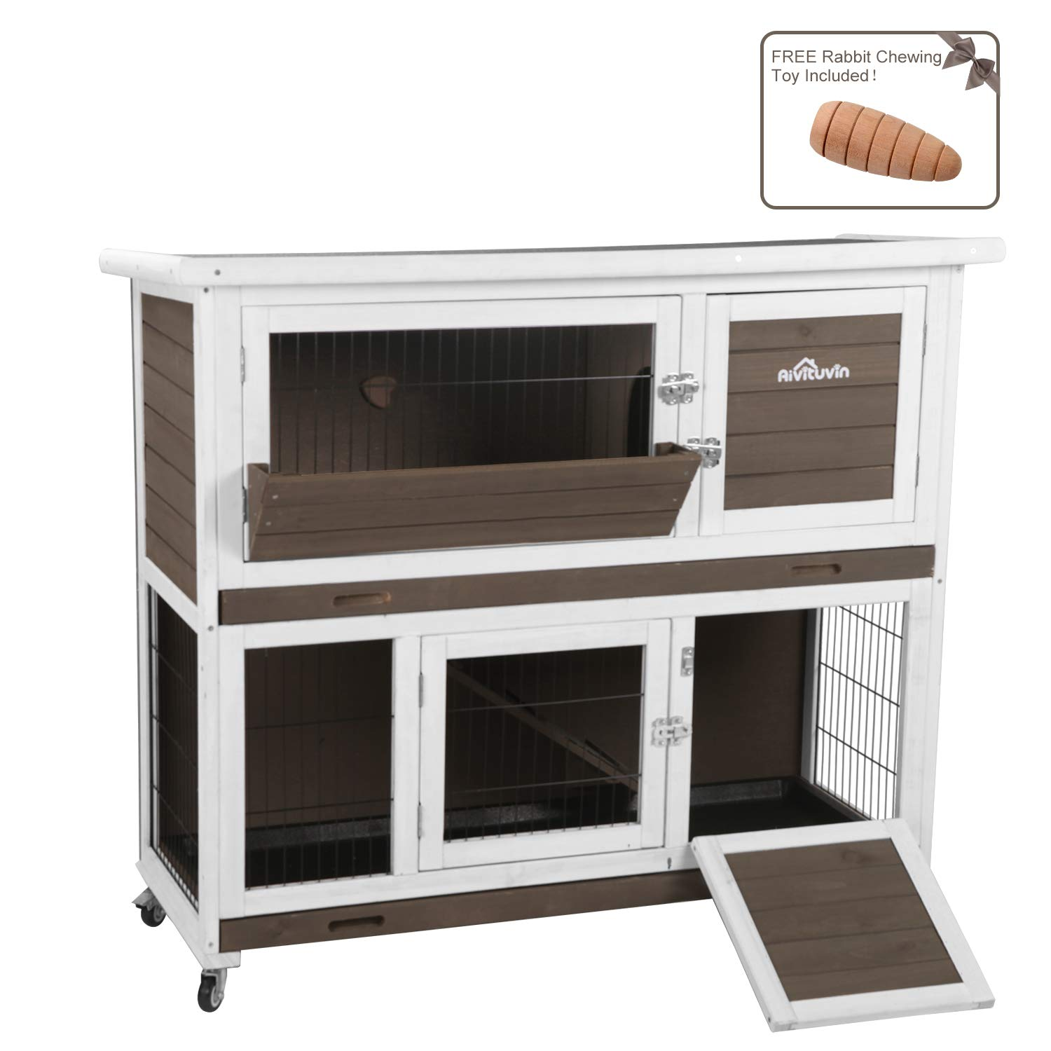 Aivituvin Rabbit Hutch with Run Indoor and Outdoor 47 Inch 2- Story Bunny cage on Wheels - 2 Deep No Leakage Pull Out Tray