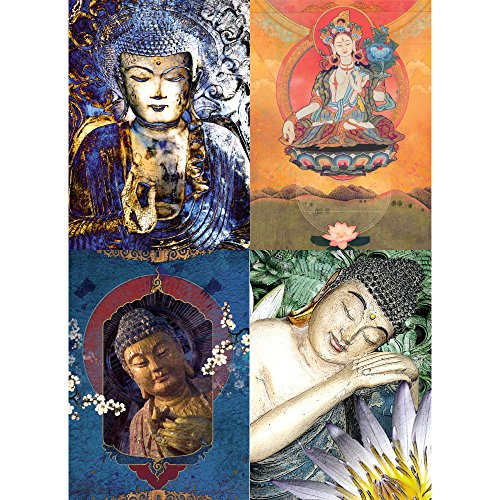 Buddha Greeting Cards - Tree-Free Greetings Inner Guidance Buddha Encouragement Card Assortment, 5 x 7 Inches, 8 Cards and Envelopes per Set (GA31506)