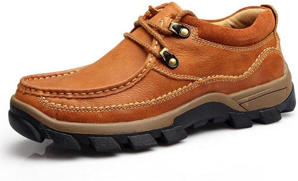 Zapatos de cuero ocasionales de la manera del Mens resorte y otoño que caminan al aire libre calzan durable Zapatos de cuero desgastados-resistentes y antideslizantes del deporte