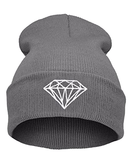 7d23c32221 GAMT Unisex Foldable Knitted Diamond Printed Pattern Beanie Soild Color  Grey at Amazon Women's Clothing store: