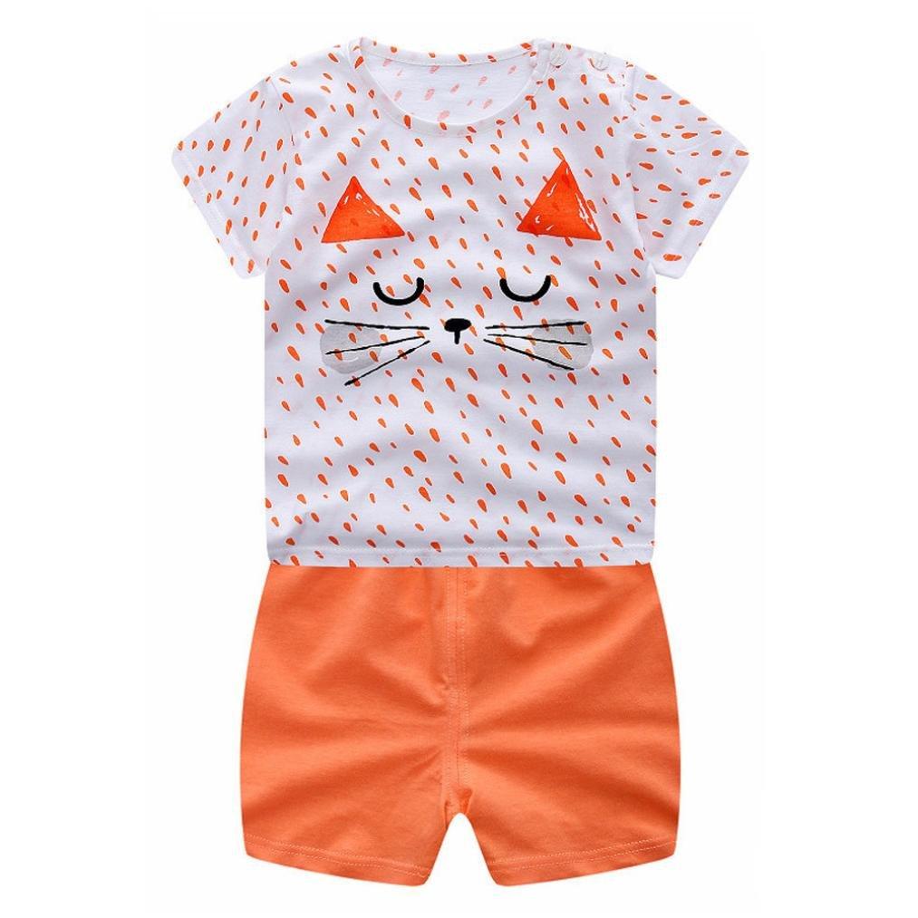Conjuntos de ropa trajes Xinantime Recién nacido Infantil Bebé Niño niña dibujos animados Tops camisas Camiseta Chaleco y Pantalones cortos Conjunto Bebé Verano Naranja Xinantime_3439