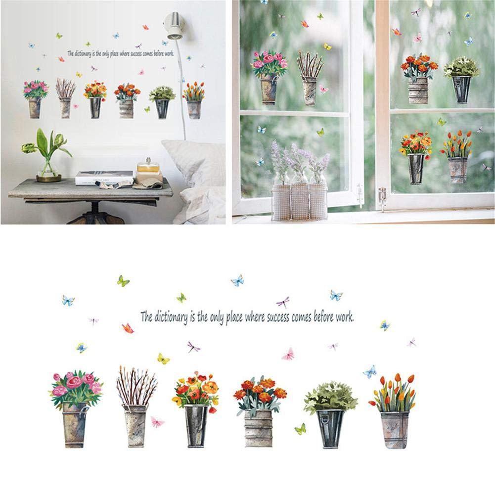 PROKTH Vinilos de pared infantiles Pegatinas decorativas pared Papel tapiz para pared Cocina Dormitorio Coche Estilo retro Planta en maceta 1pc