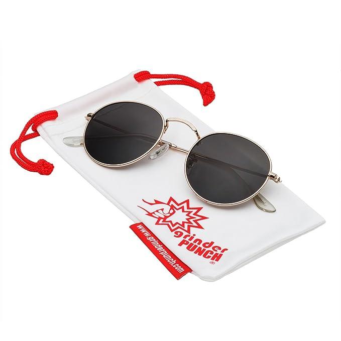 Amazon.com: grinderPUNCH Retro Round Sunglasses - Metal Frames ...