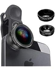 Redlemon Kit Lentes 3 en 1 iPhone y Android Lente Macro Fisheye y Gran Angular Universal para Smartphone y Tablet