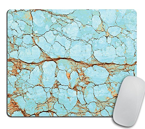 Rusty Cracked Turquoise Marble Design Mousepad, Boho Mouse Pad, Office Decor (Turquoise Office Decor)