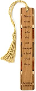 product image for Lemony Snicket Quote About Not Trusting Anyone Without A Book Handmade Wooden Bookmark with Tassel - Search B07K1L1KZ2 to See Personalized Version
