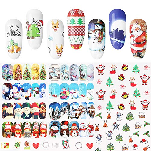 48PCS DIY Christmas Nail Stickers, Witspace Snowflake Snowman Santa Christmas Tree Reindeer Heart Jingle Bell Doll Sleigh Nail Art -