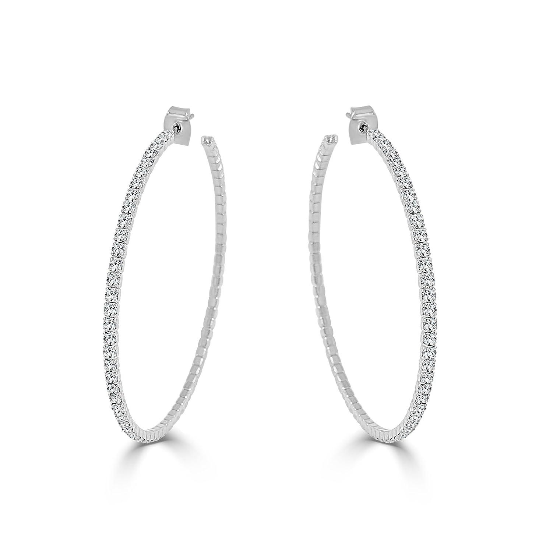 4a15894ddd70c Sabrina Designs Lightweight Crystal 14K Gold Plated Hoop Earring, LARGE  -2.25