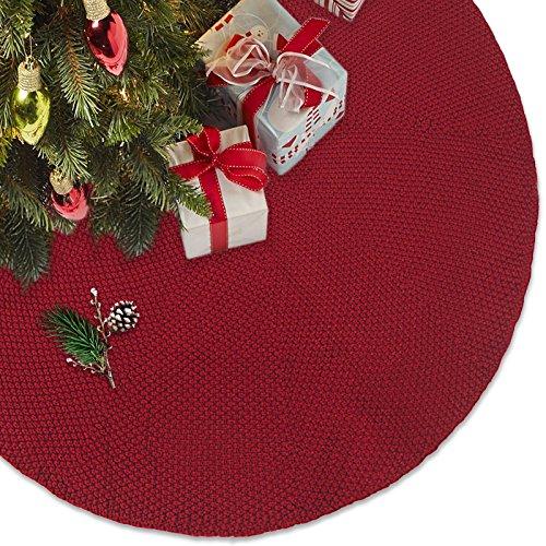 LimBridge 48'' Luxury Knitted Christmas Tree Skirt Thick Heavy Yarn Wine Red Rustic Xmas Holiday Decoration by LimBridge