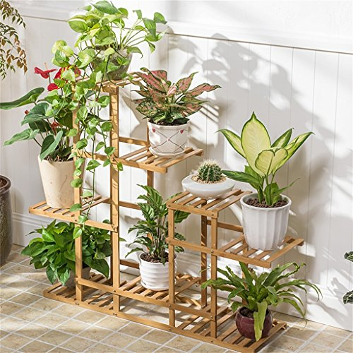 AIDELAI flower rack Flower Shelf Decoration Bamboo Multiple Layers Floor Racks Balcony Living Room Flower Pot Rack DIY Assembly Flower Racks Patio Garden Pergolas by AIDELAI
