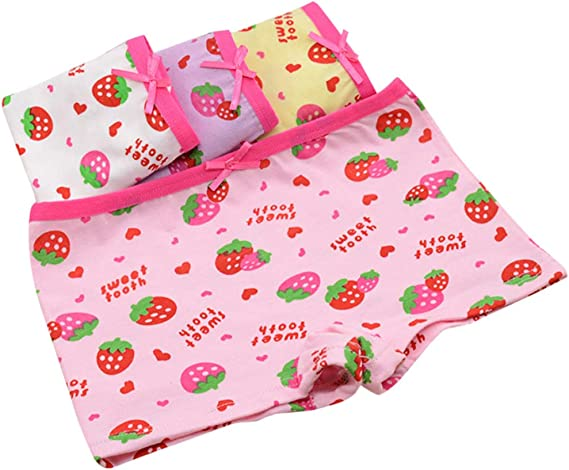 Horoshop Girls Panties Strawberry Underwear Cotton Boyshort Hipster Kids Briefs 2-11 Years,1Pack,Color Random