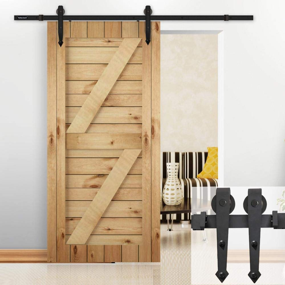 Yaheetech 6 Ft Interior Black Steel Single Sliding Barn Closet Door Hardware Track System Kit Set