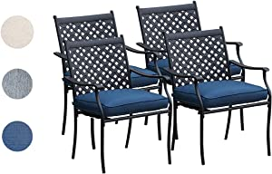 Top Space 4 Pieces Pstio Dining Chairs Stackable Wrought Iron Metal Patio Dining Chair Outdoor Dining Chairs Set with Steel Frame and Oxford Cushion