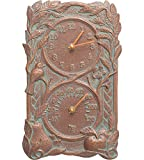 SKB family Fruit and Bird Outdoor Thermometer and Clock, 8'' x 13.75'' x 2'' x 6 lbs, Copper Verdi
