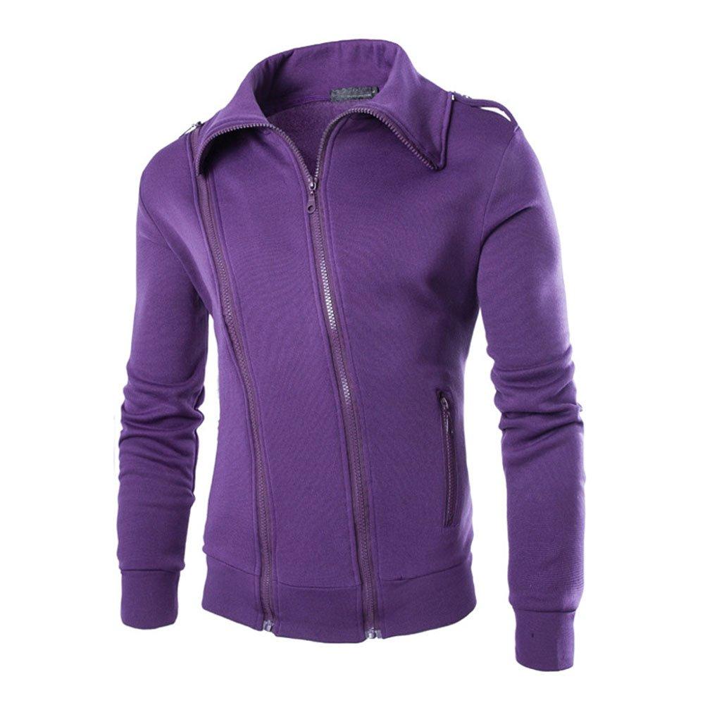Mlotus Mens Double zip Slim Fleece Jacket Cardigan Sweatshirt Outerwear Purple