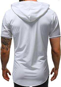 ZODOF Camisetas Hombre Verano,Ropa Deportivas Hombre,Sudaderas con Capucha Casual Hombre,Camiseta de Manga Corta con Capucha Hombre,Verano Tops Blusa Hombre