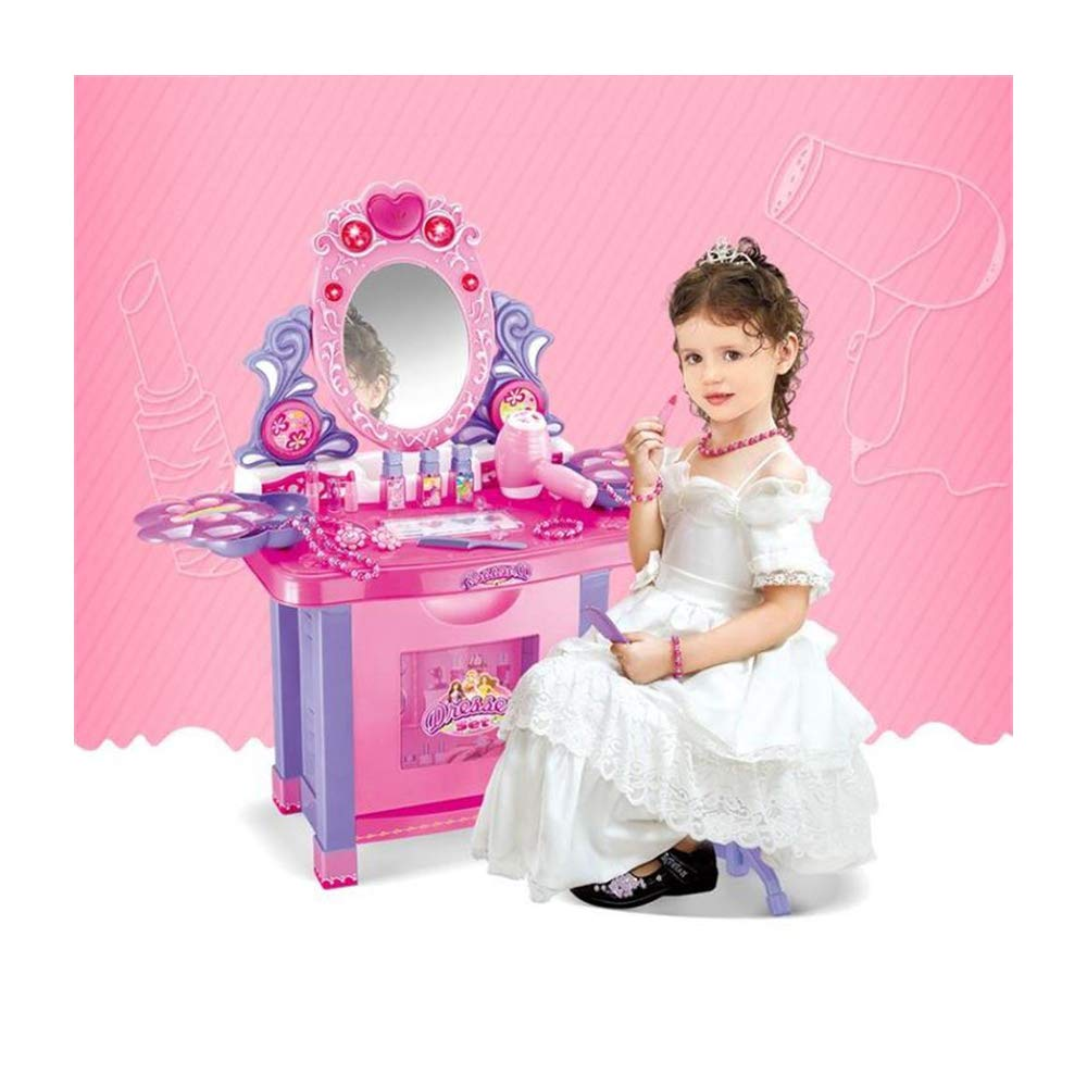 JFMBJS Girls Princess Vanity Dressing Table, Kids Pretend Interactive Toys Dressing Table, with 16 Makeup Accessories