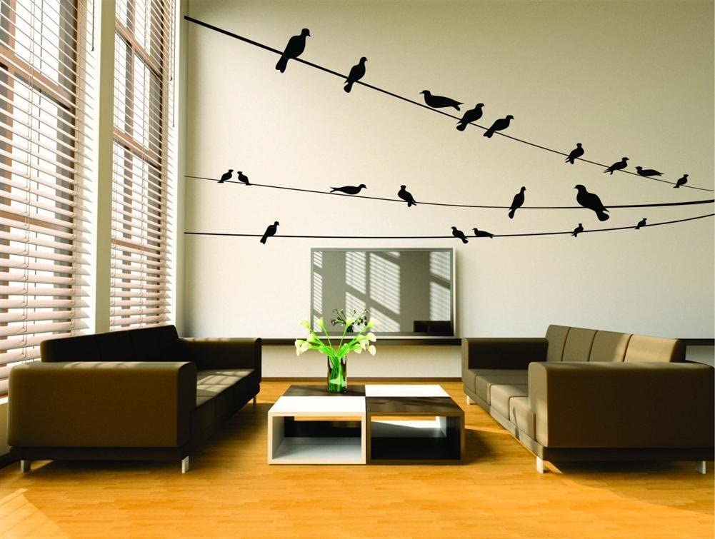 Black Birds On Three Wires Design with Vinyl Design 250 Removable Wall Decal 50-Inch By 22-Inch