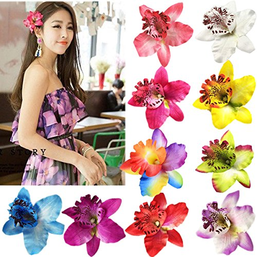 10 Pieces Women Chiffon Flowers Hair Clips Butterfly Orchid Alligator Clips for Bridal Wedding Accessory Beach Party Wedding Event Decor (Hair Flower Clips)