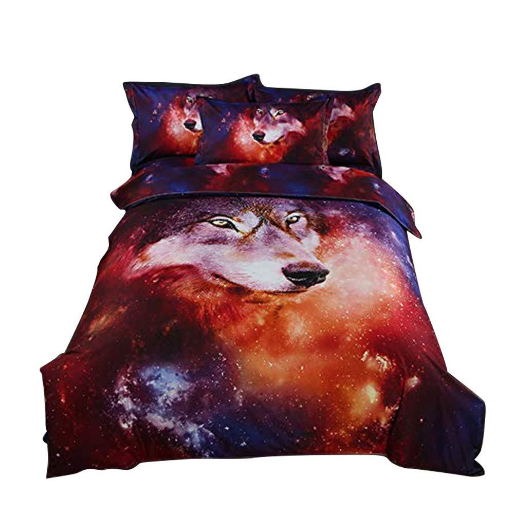 ZHH 3D Duvet Cover Sets Twin Size Animal Galaxy Wolf Pattern Kids Bedding Set Ultra Soft Quilt Cover for Boys, Kids and Teens (1 Duvet Cover Set + 2 Pillowcases) (Twin, Galaxy Wolf)