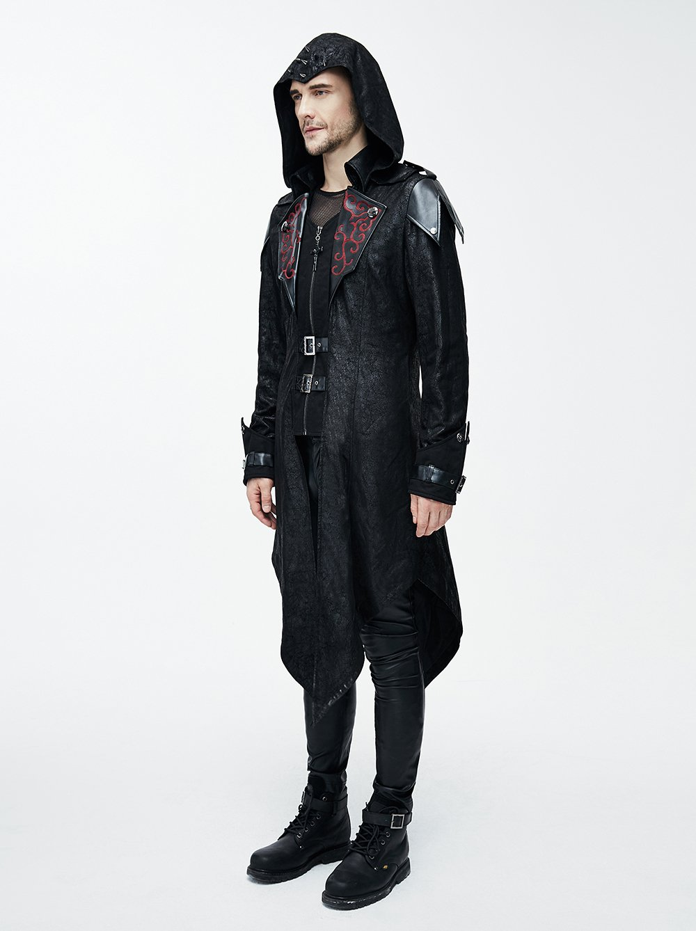 Devil Fashion Punk Men Jackets Faux Leather Steampunk Gothic Swallowtail Coats Autumn Winter Long Hooded Coats Overcoat 4