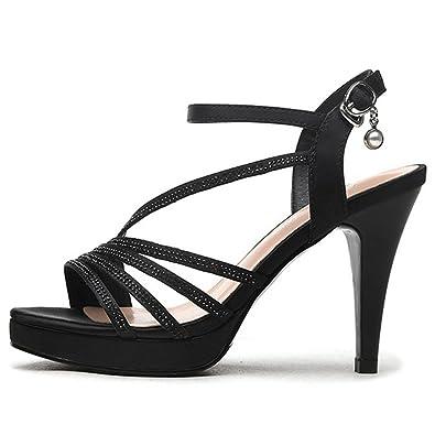 Damens es High Knöchel Heel Sandale Offene Zehen Knöchel High Schnalle Riemen ... 501eb2