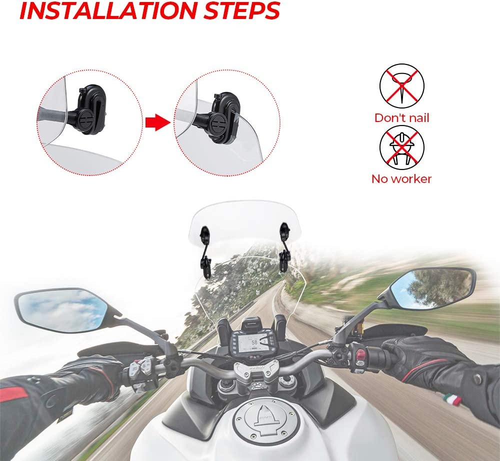 Motorcycle Adjustable Windscreen Extension Universal Clip on Windshield Spoiler Compatible with Honda Kawasaki Suzuki Yamaha Windscreen