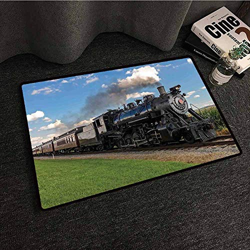 (Indoor Super Absorbs Doormat Steam Engine,Vintage Locomotive in Countryside Scenery Green Grass Puff Train Picture,Blue Green Black,W30