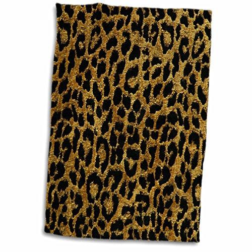 3dRose Lee Hiller Designs RAB Rockabilly - RAB Rockabilly Metallic Gold and Black Leopard Print - 15x22 Hand Towel (twl_25494_1)