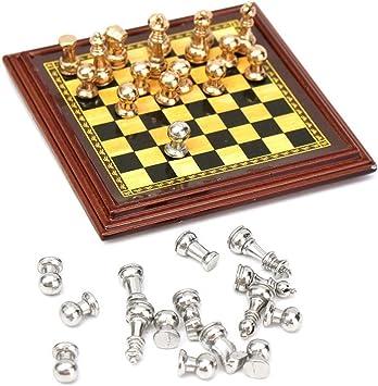 ARUNDEL SERVICES EU Escala 1:12 Juego de ajedrez de Metal en Miniatura Accesorios de casa de muñecas Juego de ajedrez Miniatura: Amazon.es: Juguetes y juegos