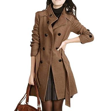 Clasic Khaki trench femme Slim Fit revers col double trench vintage élégant coton Coat Outwear vêtements de travail