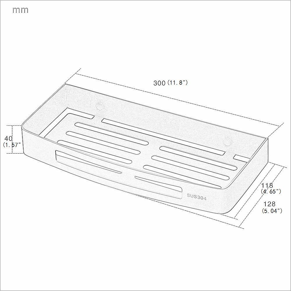 """1.57/"""",Black Painting Beelee BA9287B SUS304 Stainless Steel Bathroom Shower Caddy Rectangular Trays For Lavatory Kitchen Bath Hardware With Size 11.8 5.04"""