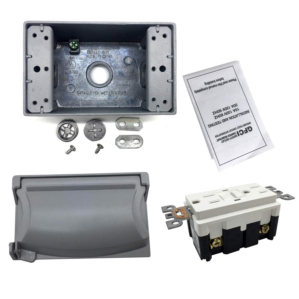 Gfci Outlet Outdoor Waterproof Metal Box Cover Wall Receptacle How To Wire An Electrical Wiring As Well Weather Resistant Circuit Breaker