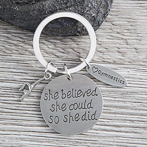 The Infinity Collection Gymnastics Keychain- She Believed She Could So She Did Girls Gymnastics Gift- Gymnastics Jewelry For Gymnast by The Infinity Collection (Image #2)