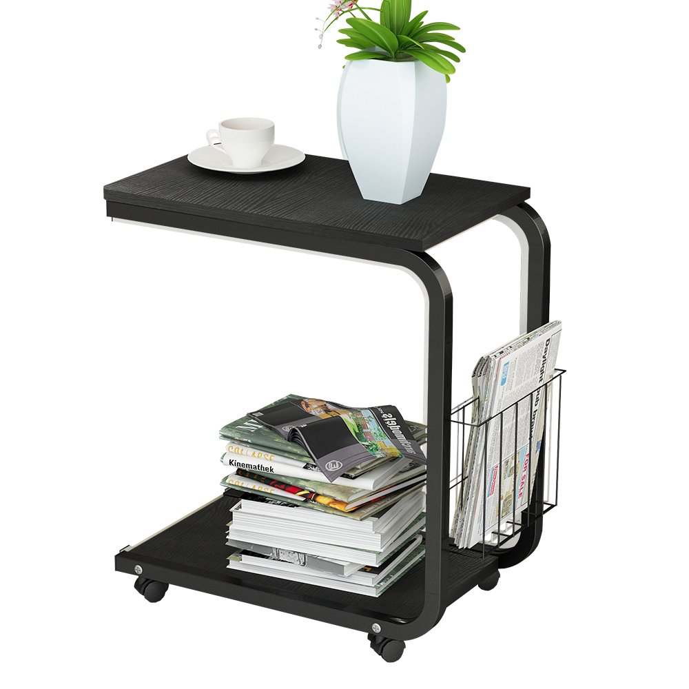 soges Side Table Moving Unite Laptop Desk Small Computer Table with Caster, Black KH02-BK by soges (Image #1)
