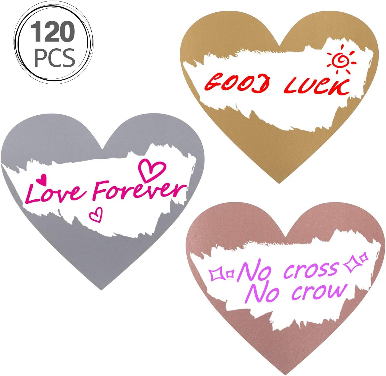 Scratch Off Sticker 27 x 32mm Love Heart Shape Silver for Home Game Wedding 120