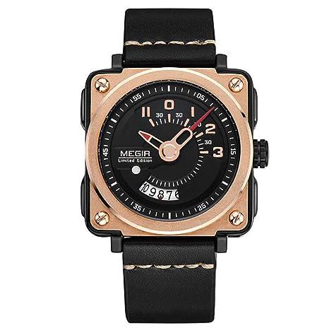 Megir Hombres Reloj Deportivo Correa de Cuero Cuarzo Cuadrado Relojes Militares con Caja de Reloj 2040
