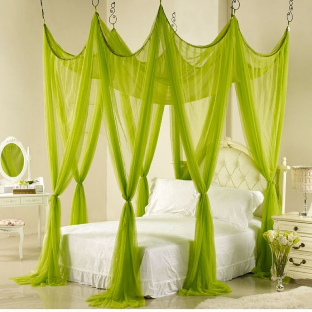 Pink four corner mosquito net bed canopy, Bedroom Double Home Ceiling Hook mosquito curtain-green 180x220cm(71x87inch)