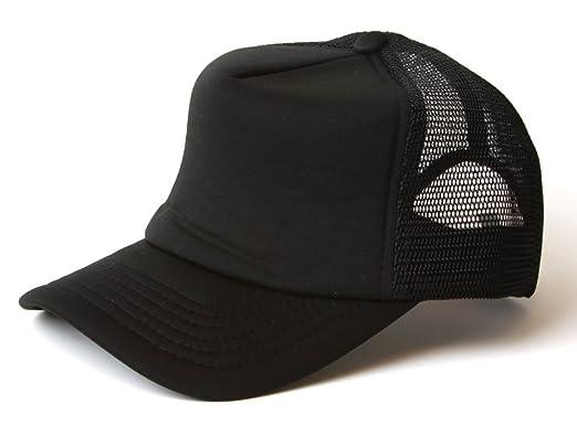 New Plain Black Mesh Curved Peak Baseball Cap Adjustable Snapback