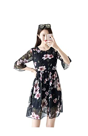 006530adcc None New Summer Plus Size Women Dress Loose Butterfly Sleeve Floral Chiffon  Dress A Line Skirt Female Beach Dress: Amazon.co.uk: Clothing
