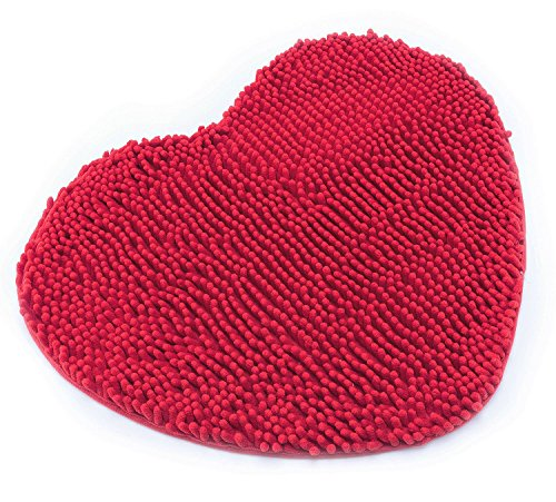 (Hughapy Super Soft Lovely Heart Love Shaped Area Rug,Anti-Skid Chenille Door Mat christmascarpet for Home Bedroom 50cm60cm with 10 Colors,Red)