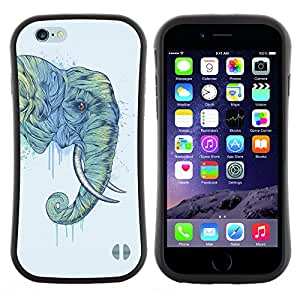 Apple (4.7 inches!!!) iPhone 6 , Radio-Star - Slim Fit Dual Barniz Protector Caso Case Funda ( Elephant Trunk Art Painting Wild Animal)