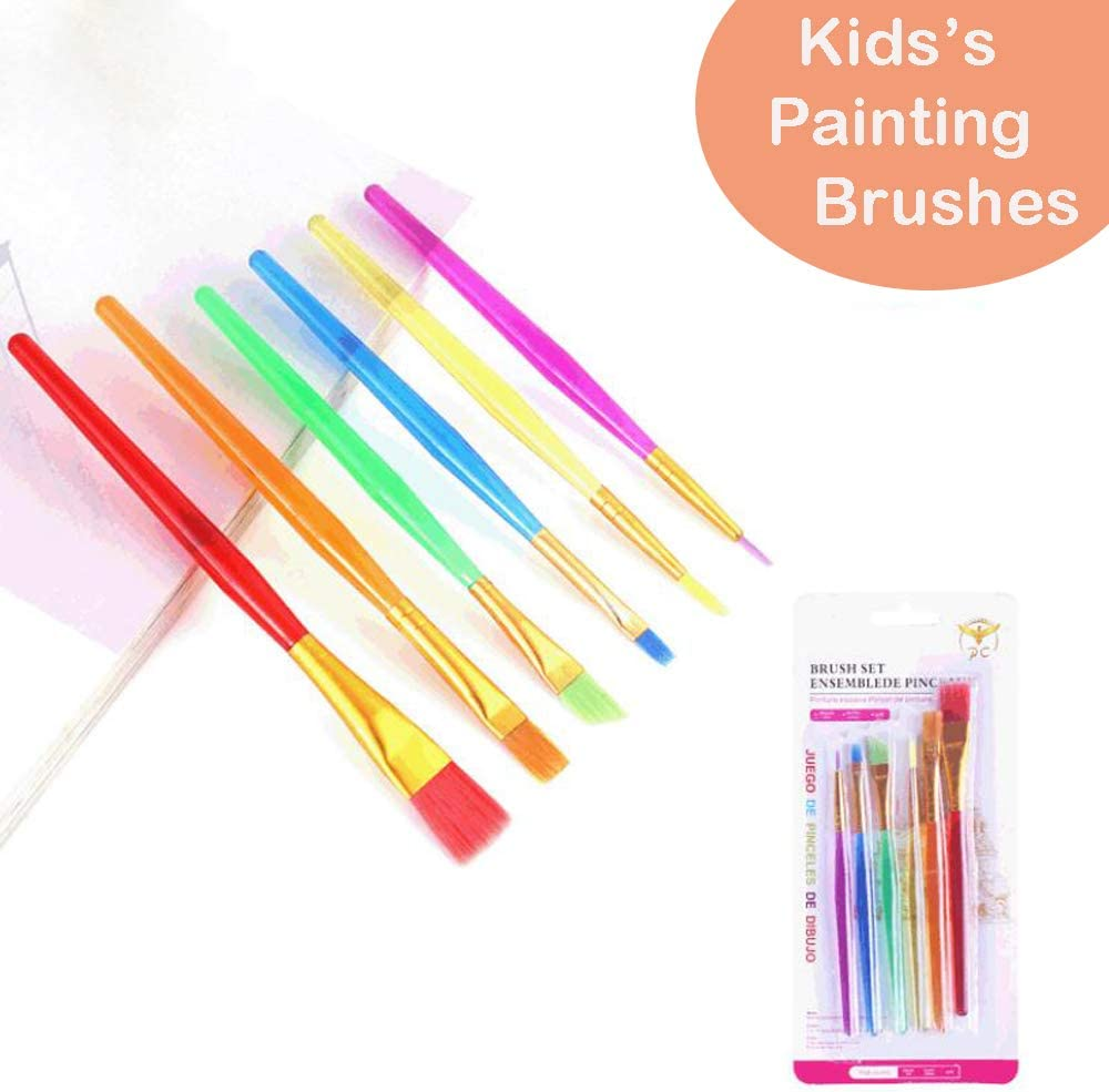 Oil,School Painting Arts and Crafts Tools Acrylic 6pcs Paintbrush for Watercolor JOYARA Paint Brushes Set for Kids