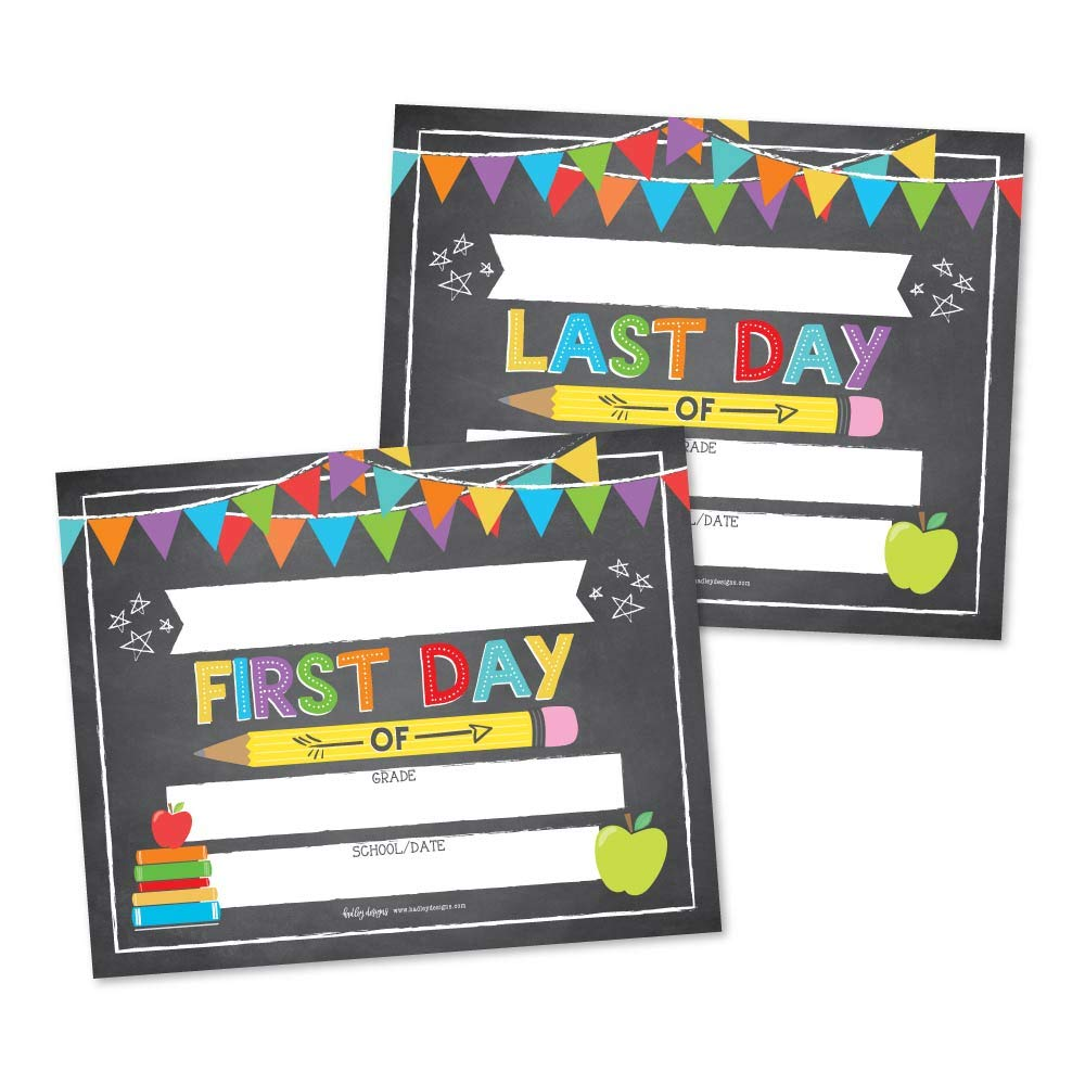 10 Colorful First and Last Day of School Signs, Back to School Photo Booth Prop Chalkboard Style, 1st Preschool, Kindergarten, Pre K Grade, Reusable Reversible Girl Boy Kid Child Year 8x10 Card Stock by Hadley Designs