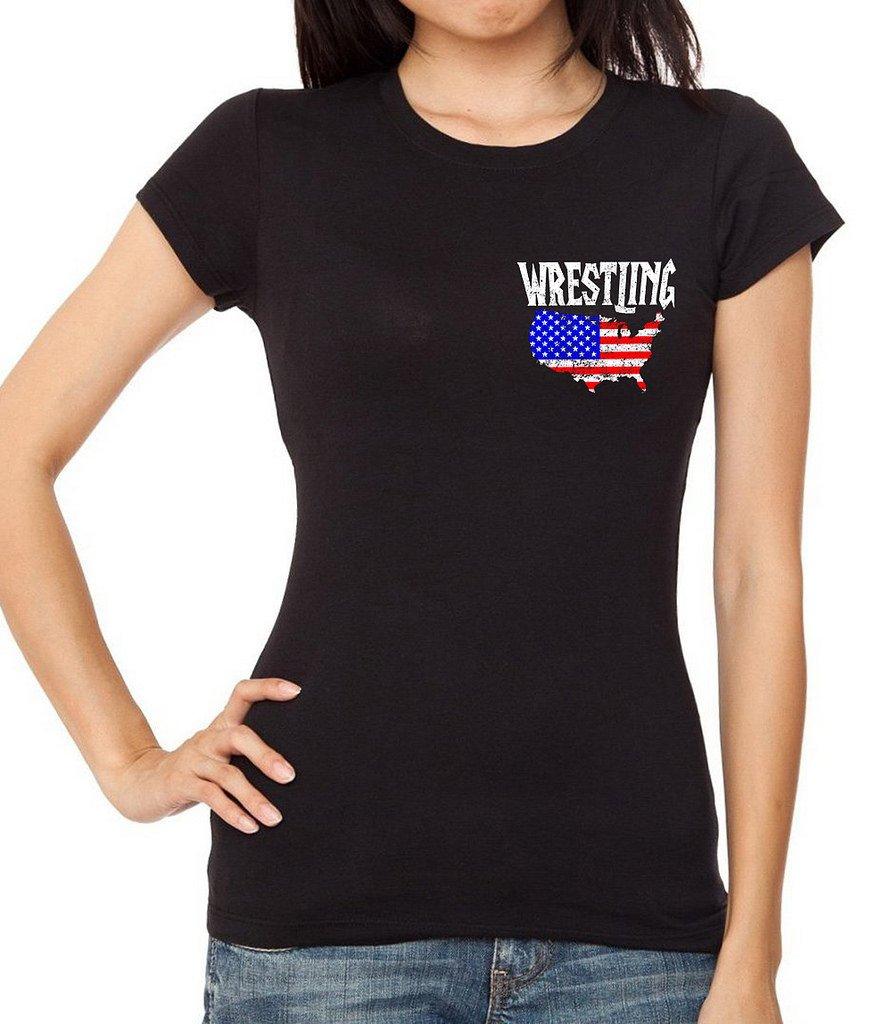 Interstate Apparel Inc Junior's Wrestling American Flag Map Black T-Shirt X-Large Black by Interstate Apparel Inc