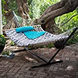 Outdoor 11 ft. Cotton Rope Hammock with Metal Stand, Pure Cotton Rope, Sturdy and Long Lasting Steel Stand, Pad and Pillow Included, Luxuriously Hammock Set, Perfect for your Garden or Yard