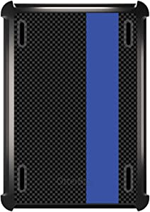 DistinctInk Case Compatible with Apple iPad Air 2 (2014 Model) - Custom Black Replacement for OtterBox Defender with Stand, Screen Protector - Thin Blue Line Grey Black Carbon Fiber Print