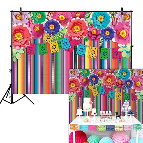 Allenjoy 7x5ft Mexican Fiesta Theme Backdrop for Photography Festival Birthday Party Decor Cinco De Mayo Carnival Colorful Flags Floral Banner Table Decor Background Photo Studio Booth Props Supplies ()